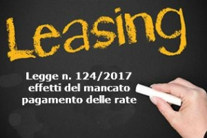 Leasing nuove norme per il mancato pagamento delle rate introdotte dalla legge n. 124/2017